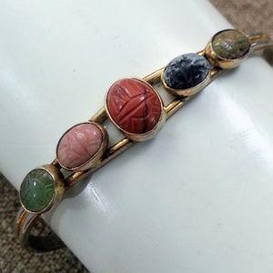 Vintage hardstone 5 scarab bracelet rigid/cuff